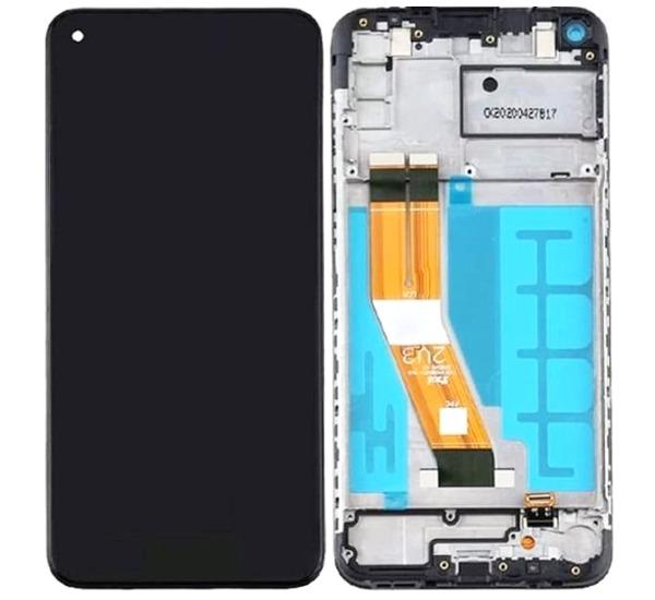 LCD + dotyk + přední kryt pro Samsung Galaxy A12, black (Service Pack)