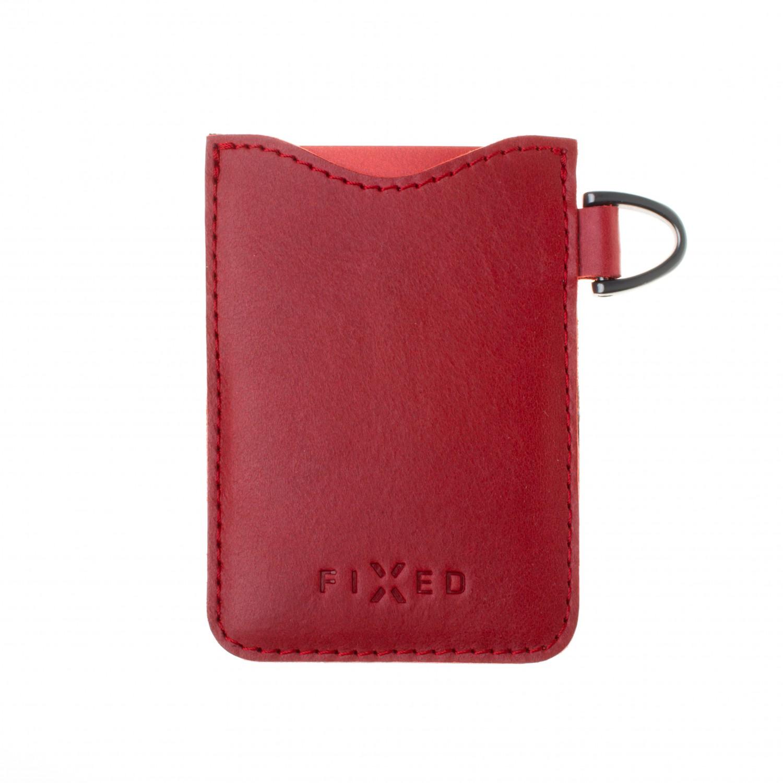 Kožené pouzdro na karty FIXED Smile Cards se smart trackerem, červená