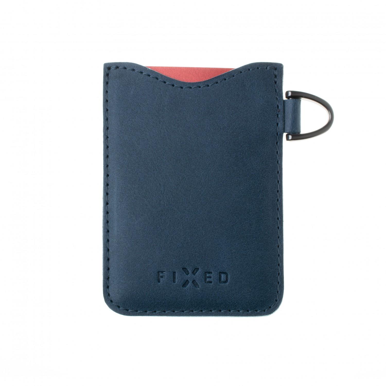Kožené pouzdro na karty FIXED Smile Cards se smart trackerem, modrá