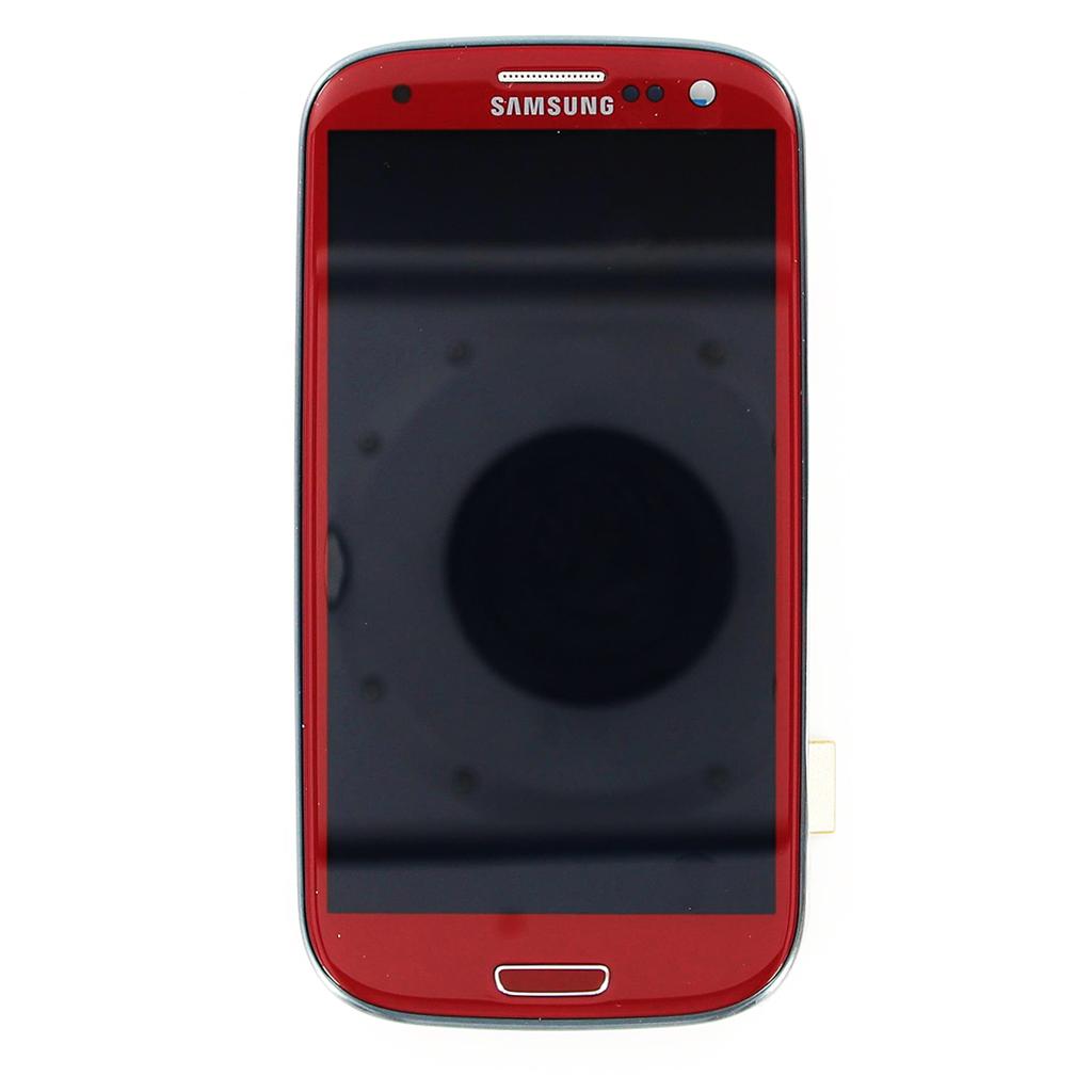 LCD Display + Dotyková Deska + Přední Kryt pro Samsung Galaxy S3, red
