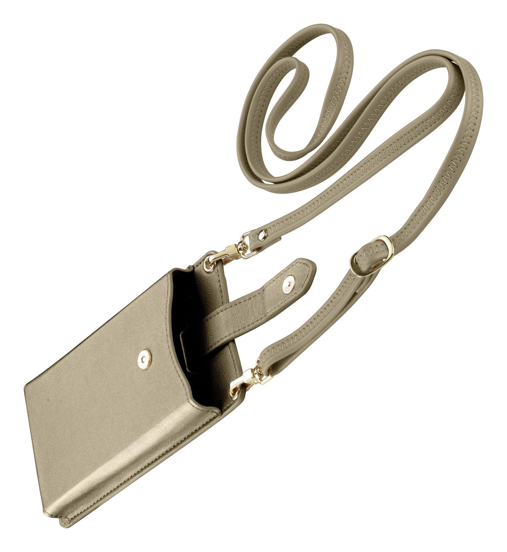 Pouzdro na krk Cellularline Mini Bag pro mobilní telefony, bronzová