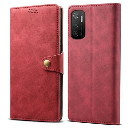 Lenuo Leather flipové pouzdro pro Xiaomi Poco M3 Pro 5G, červená