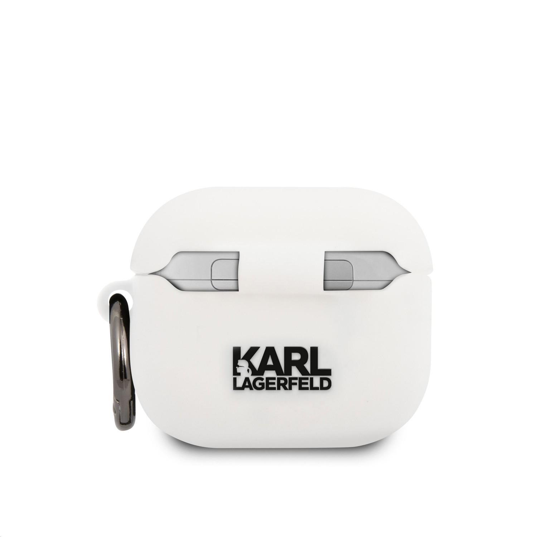 Silikonové pouzdro Karl Lagerfeld Karl Head KLACA3SILKHWH pro Airpods 3, bílá