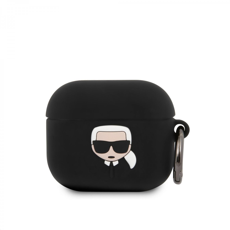 Silikonové pouzdro Karl Lagerfeld Karl Head KLACA3SILKHBK pro Airpods 3, černá