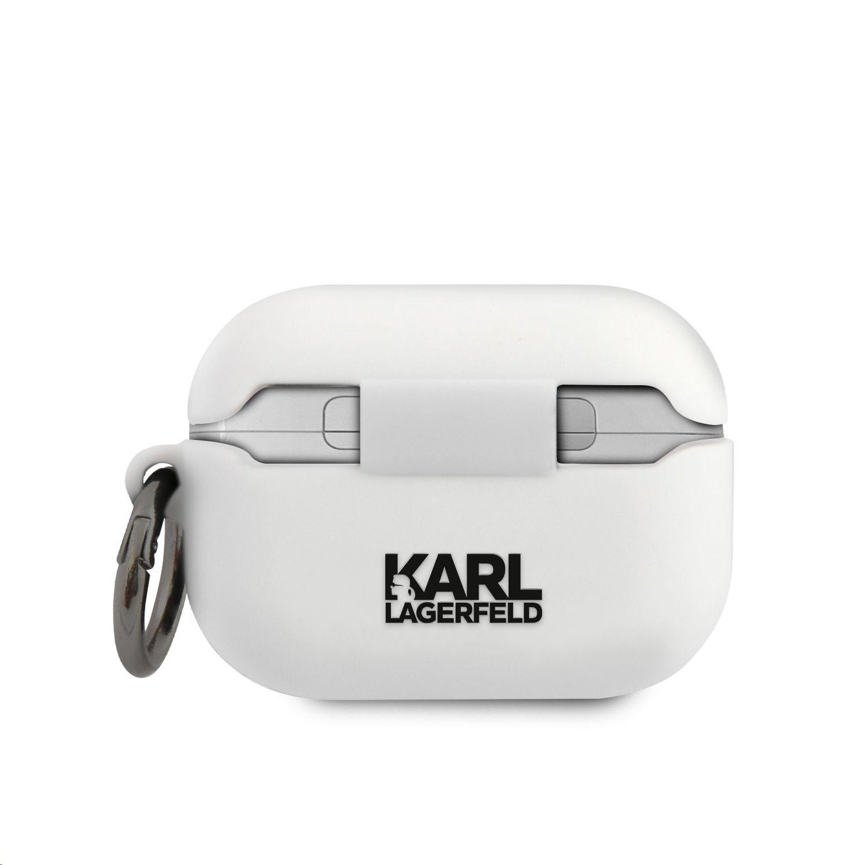 Silikonové pouzdro Karl Lagerfeld Karl Head KLACAPSILGLWH pro Airpods Pro, bílá