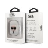 Silikonové pouzdro Karl Lagerfeld Karl Head KLACCSILKHWH pro Airpods 1/2, bílá
