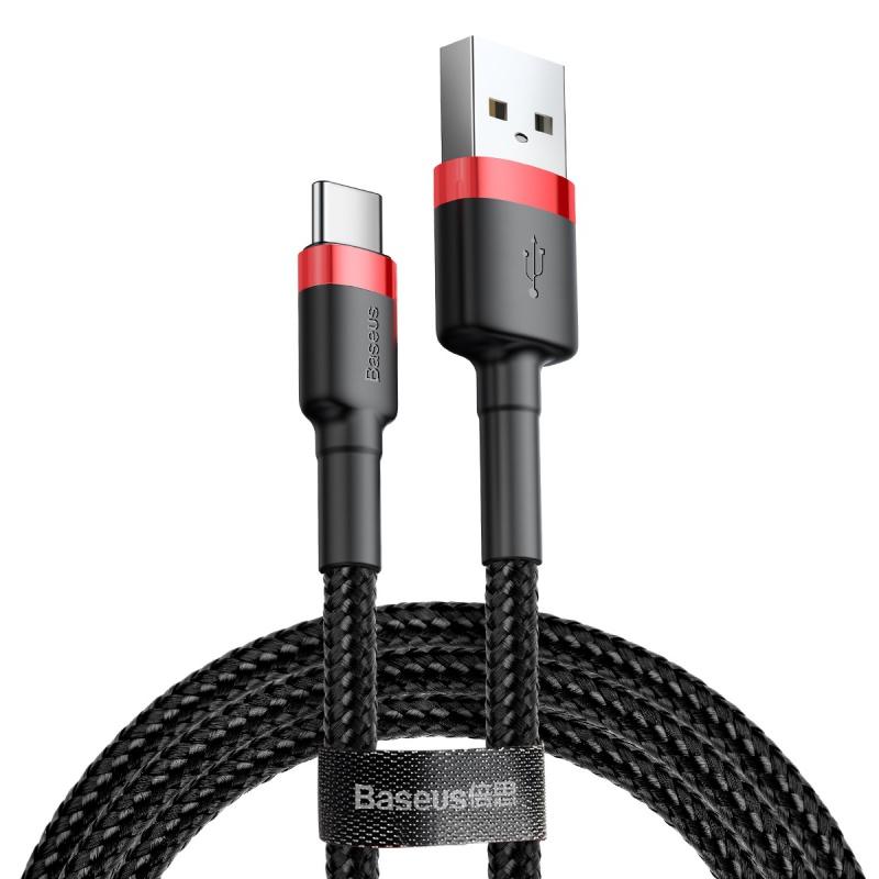 Datový kabel Baseus Cafule Cable USB for Type-C 3A 1M, červená/černá