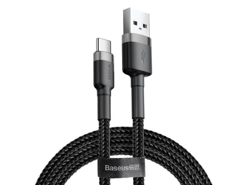 Datový kabel Baseus Cafule Cable USB pro Type-C 3A 1M, šedá/černá