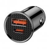 Nabíječka do auta Baseus CCALL-YS01 Circular USB + USB-C 30W, černá