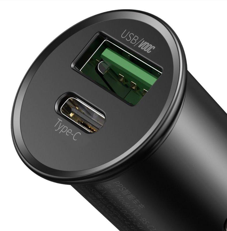 Nabíječka do auta Baseus CCYS-C01 Circular Metal Quick Charge, VOOC 30W, černá