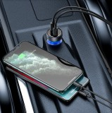 Nabíječka do auta Baseus CCKX-C0G Particular Digital Display Dual USB 65W, šedá