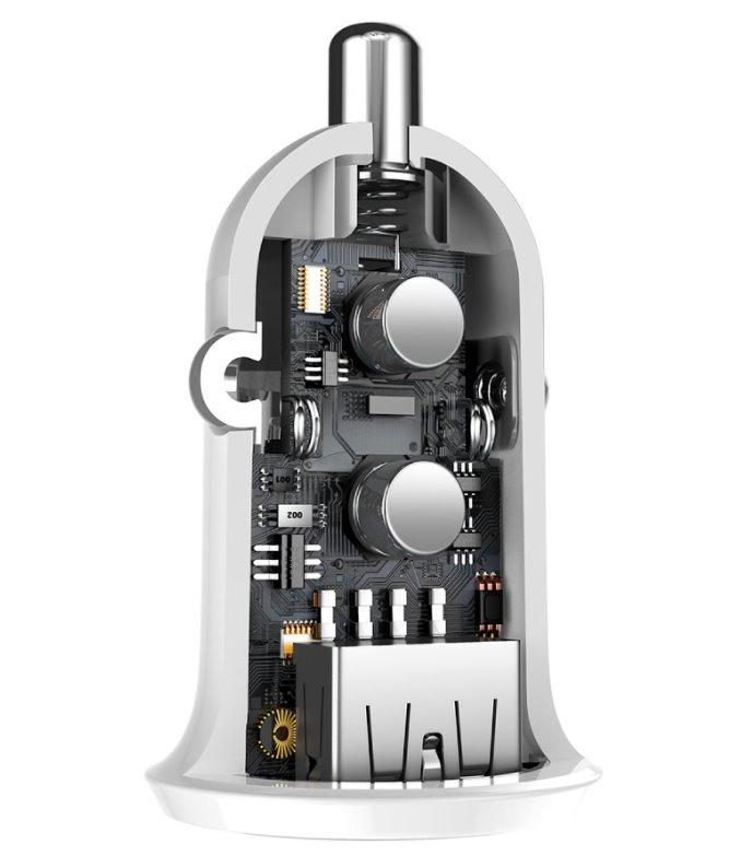 Nabíječka do auta Baseus CCALLP-02 Grain Pro Dual USB, 4.8A, bílá