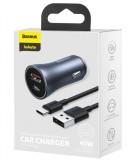 Nabíječka do auta Baseus TZCCJD-0G Golden Contactor Dual USB, 40W, tmavě šedá