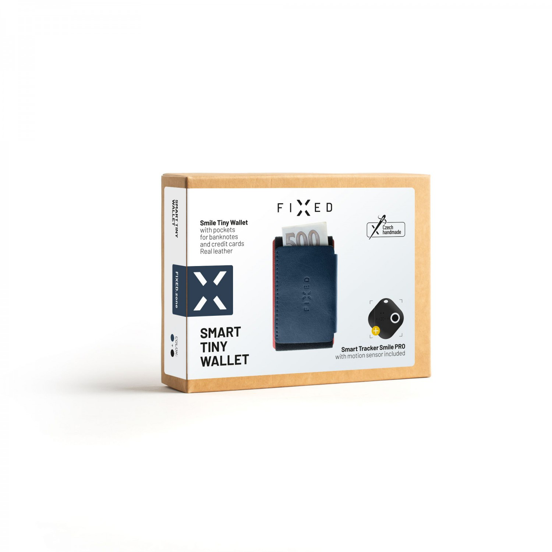 Kožená peněženka FIXED Smile Tiny Wallet se smart trackerem FIXED Smile PRO, modrá