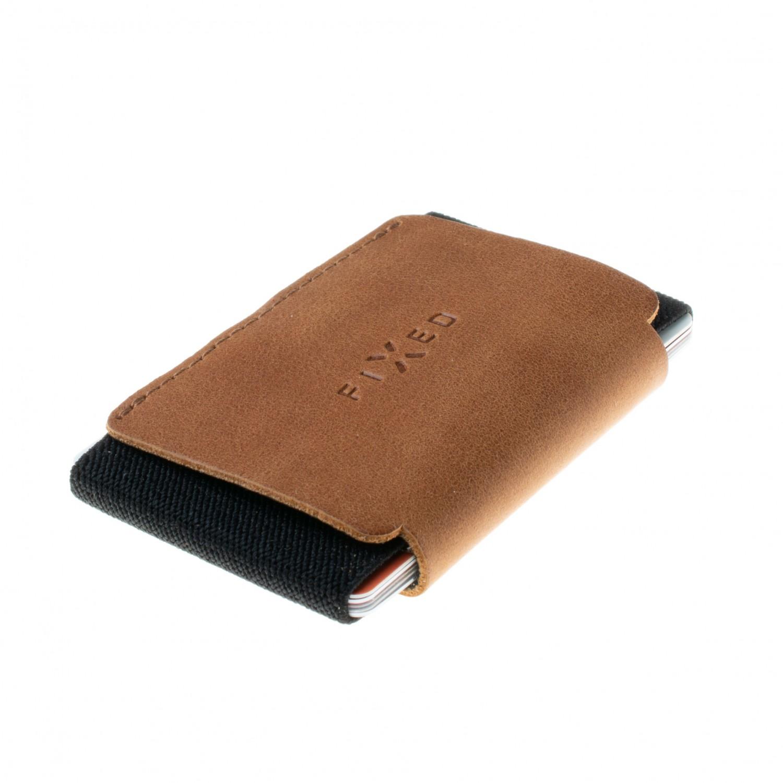 Kožená peněženka FIXED Smile Tiny Wallet se smart trackerem FIXED Smile PRO, hnědá