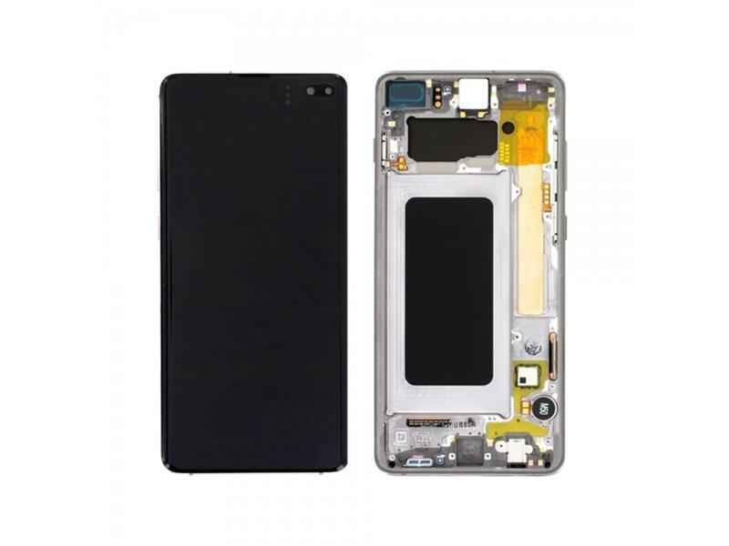 LCD + dotyk + rámeček pro Samsung Galaxy S10+, prism white ( Service Pack )