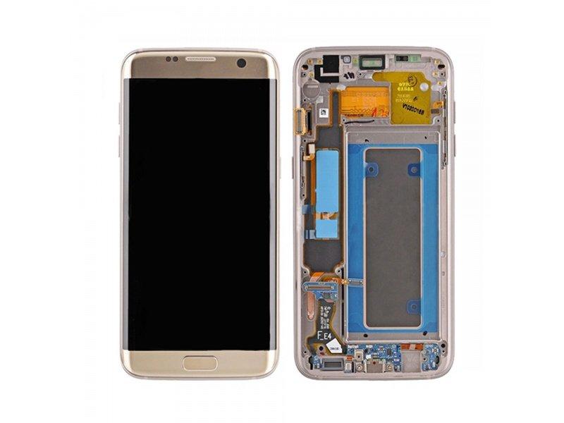 LCD + dotyk + rámeček pro Samsung Galaxy S7 Edge, gold ( Service Pack )