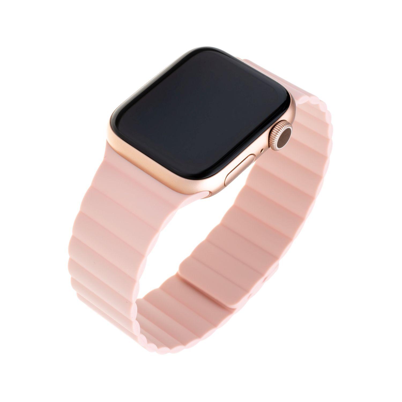 Silikonový řemínek FIXED Magnetic Strap s magnetickým zapínáním pro Apple Watch 42 mm/44 mm, růžový