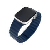 Silikonový řemínek FIXED Magnetic Strap s magnetickým zapínáním pro Apple Watch 42 mm/44 mm, modrá