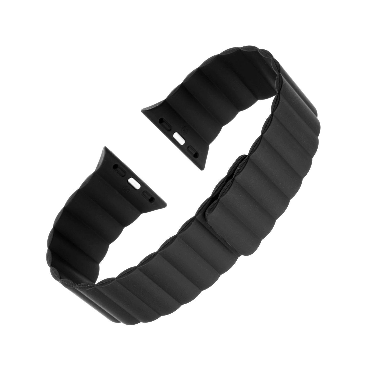 Silikonový řemínek FIXED Magnetic Strap s magnetickým zapínáním pro Apple Watch 42 mm/44 mm, černá