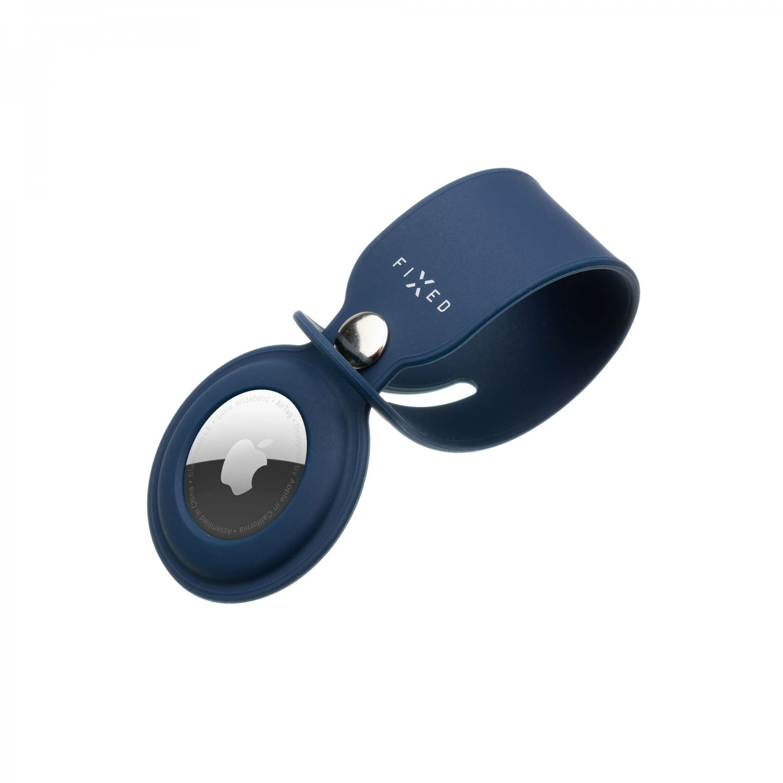 Silikonové pouzdro s popruhem FIXED Silky pro Apple AirTag, modrá