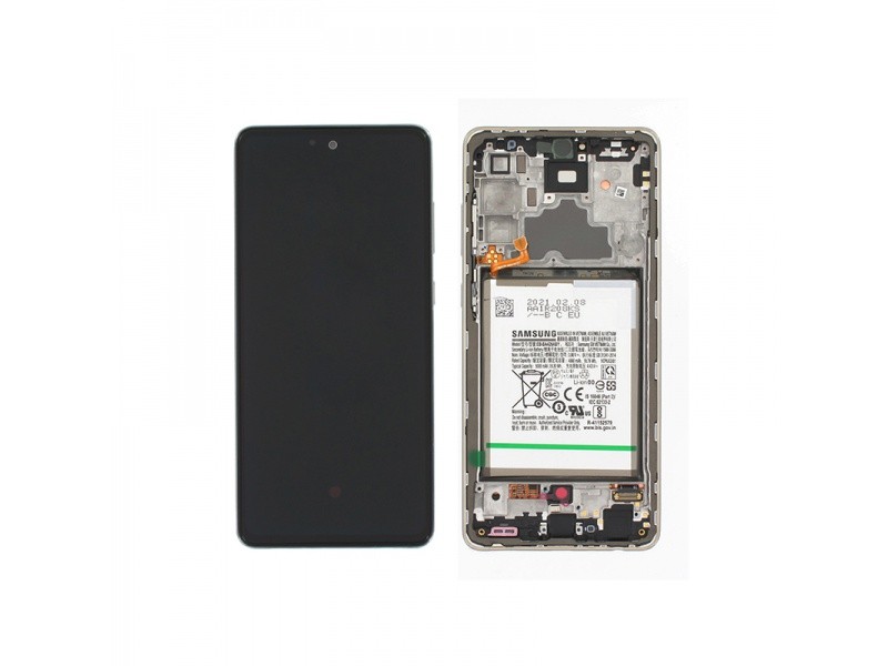 LCD + dotyk + rámeček + baterie pro Samsung Galaxy A72 4G, awesome white ( Service Pack )