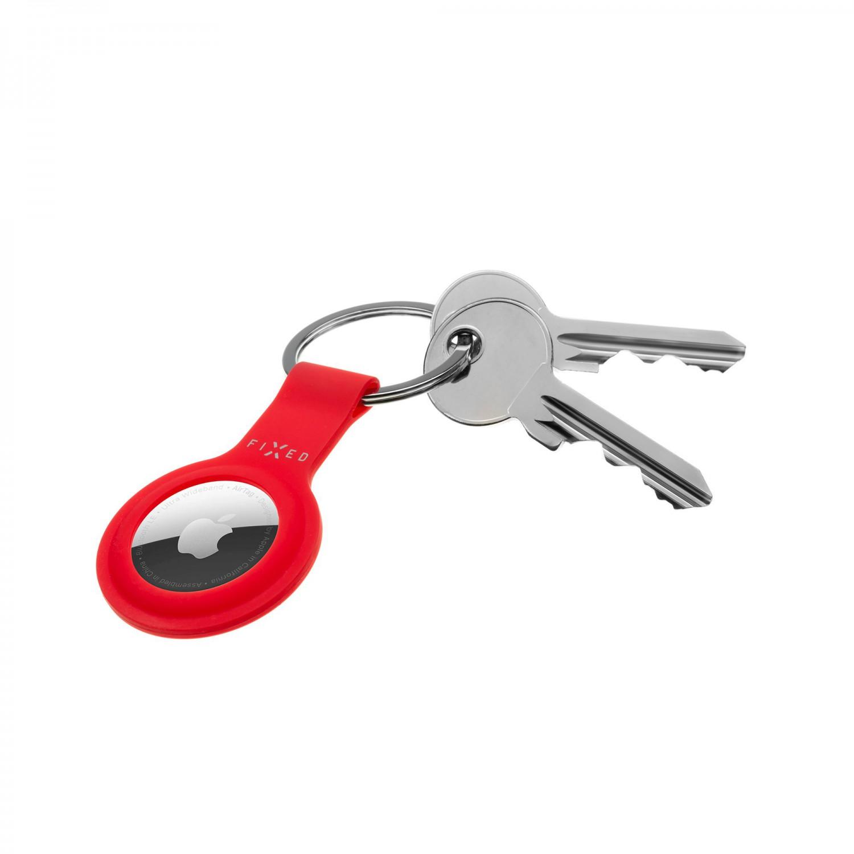 Silikonové pouzdro s kroužkem FIXED Silky pro Apple AirTag, červená