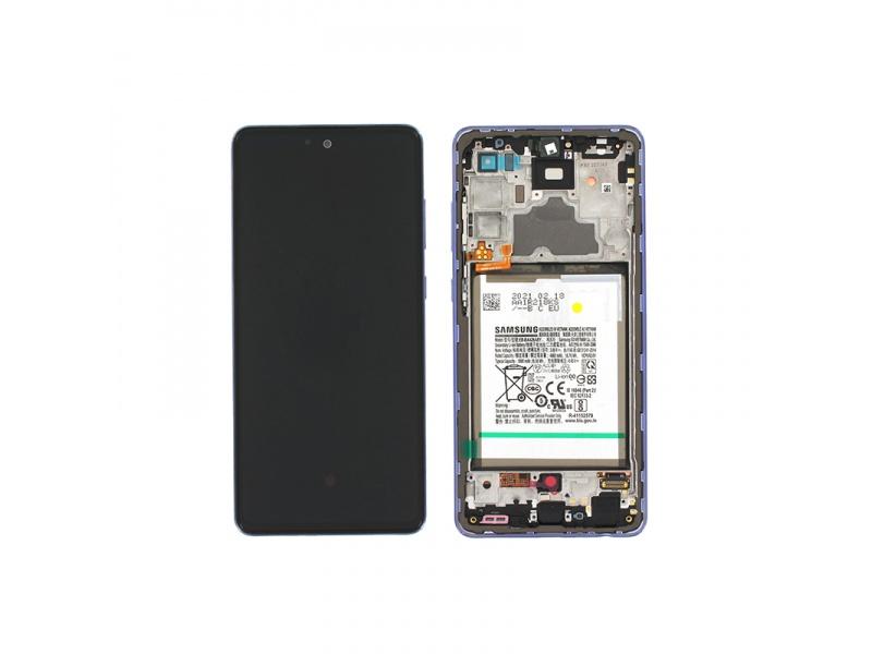 LCD + dotyk + rámeček + baterie pro Samsung Galaxy A72 4G, awesome violet ( Service Pack )