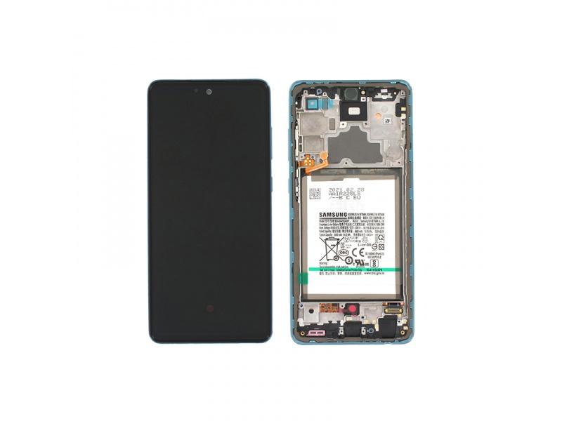 LCD + dotyk + rámeček + baterie pro Samsung Galaxy A72 4G, awesome blue ( Service Pack )