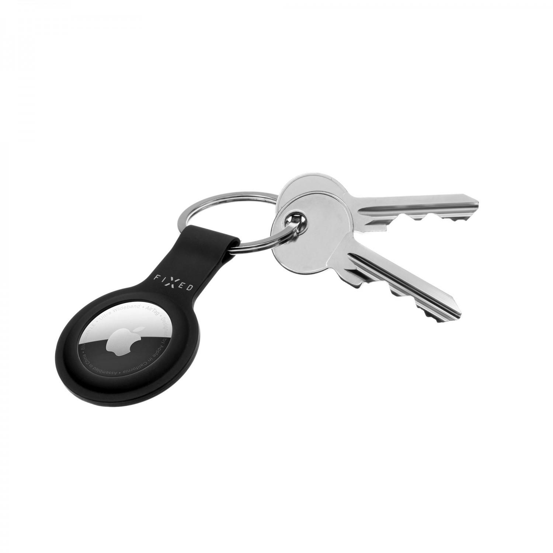 Silikonové pouzdro s kroužkem FIXED Silky pro Apple AirTag, černá
