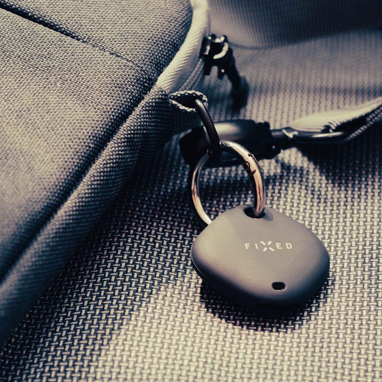 Silikonové pouzdro s kroužkem FIXED Silky pro Samsung Galaxy SmartTag/ SmartTag+, černá