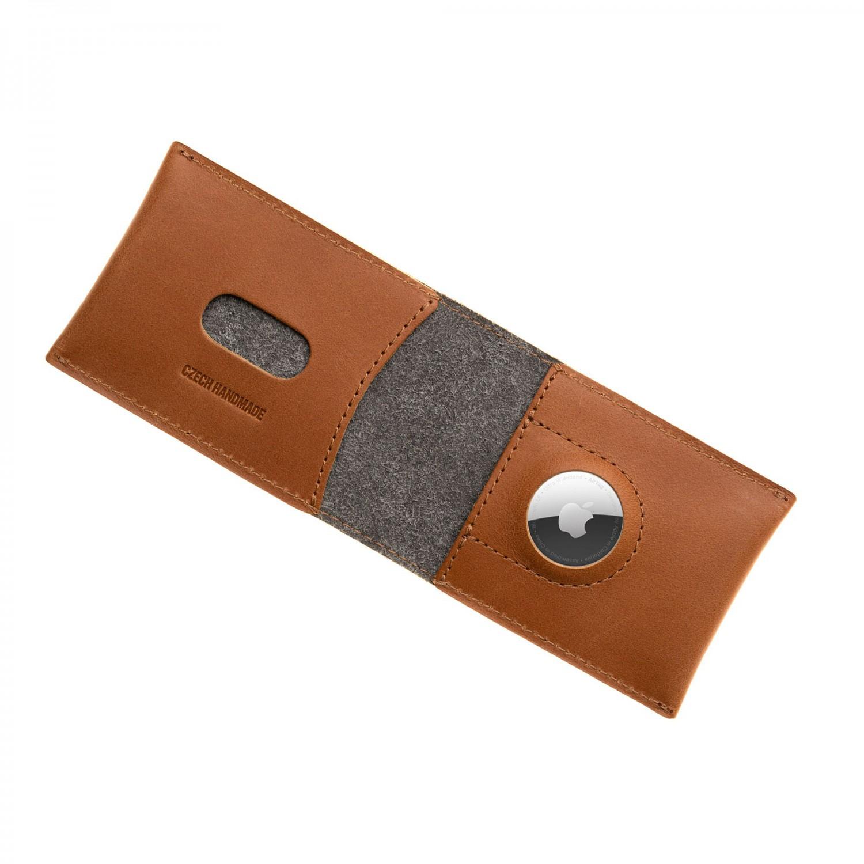 Kožená peněženka FIXED Wallet for AirTag, hnědá