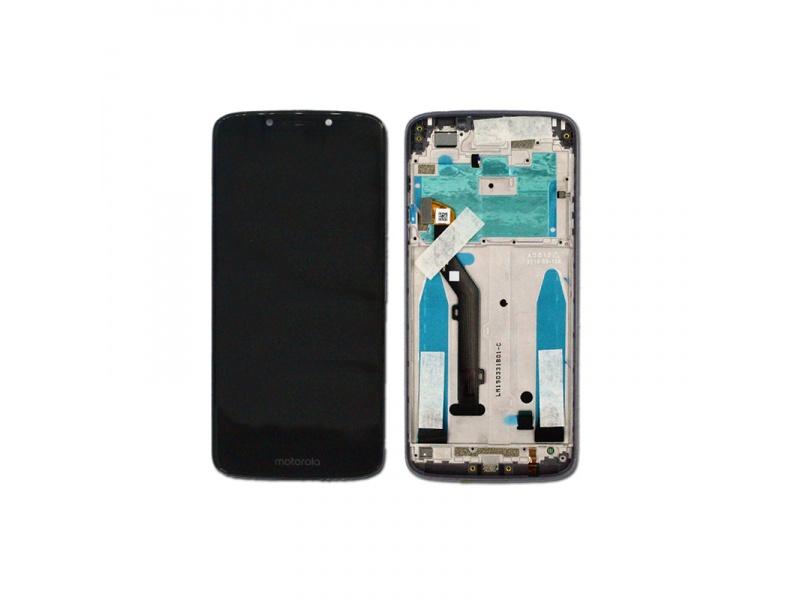 LCD + dotyk + rámeček pro Motorola E5, cover black ( Service Pack )