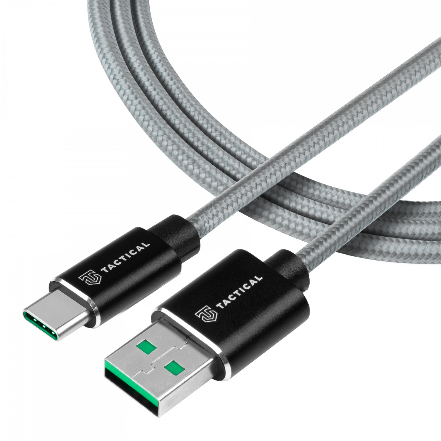 Kabel Tactical Fast Rope Aramid Cable USB-A/USB-C - SuperVOOC 2.0 CHARGE, 1m, šedá