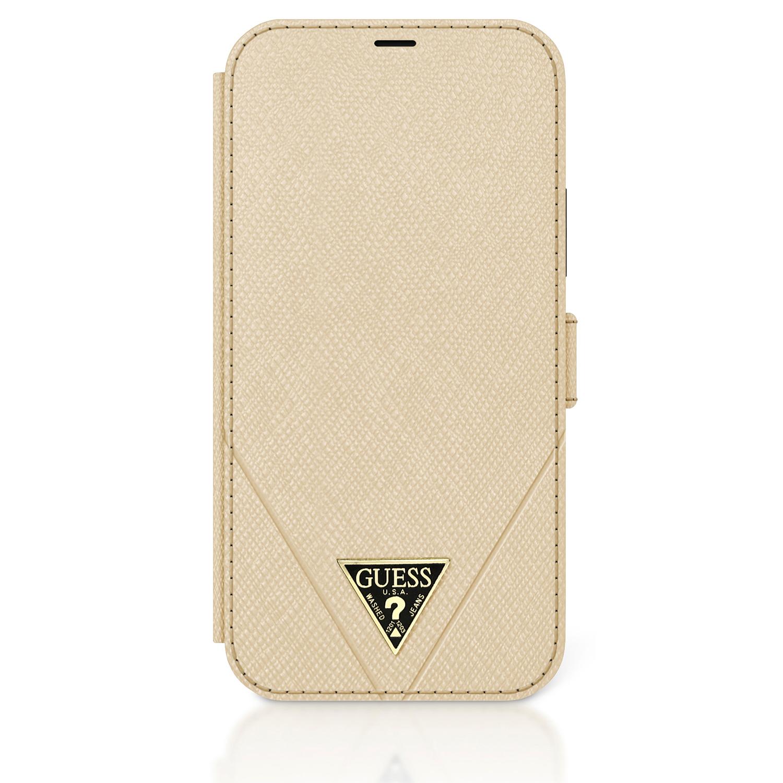 Flipové pouzdro Guess Saffiano V Stitch GUFLBKP12MVSATMLLG pro Apple iPhone 12 /12 Pro, zlatá