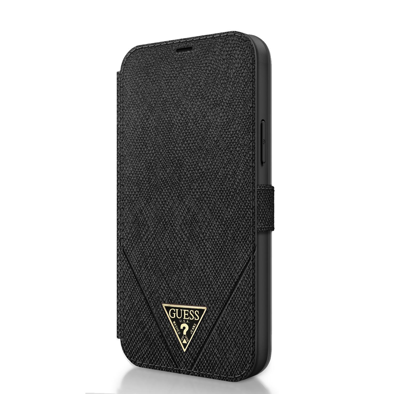 Flipové pouzdro Guess Saffiano V Stitch pro GUFLBKP12MVSATMLBK Apple iPhone 12/12 Pro, černá