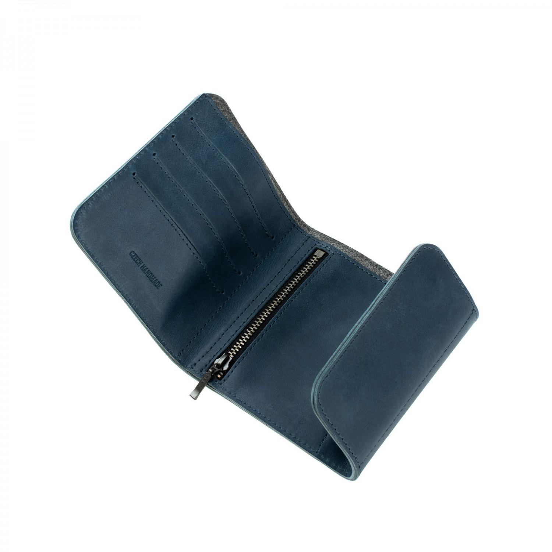 Kožená peněženka FIXED Smile Classic Wallet se smart trackerem FIXED Smile PRO, modrá