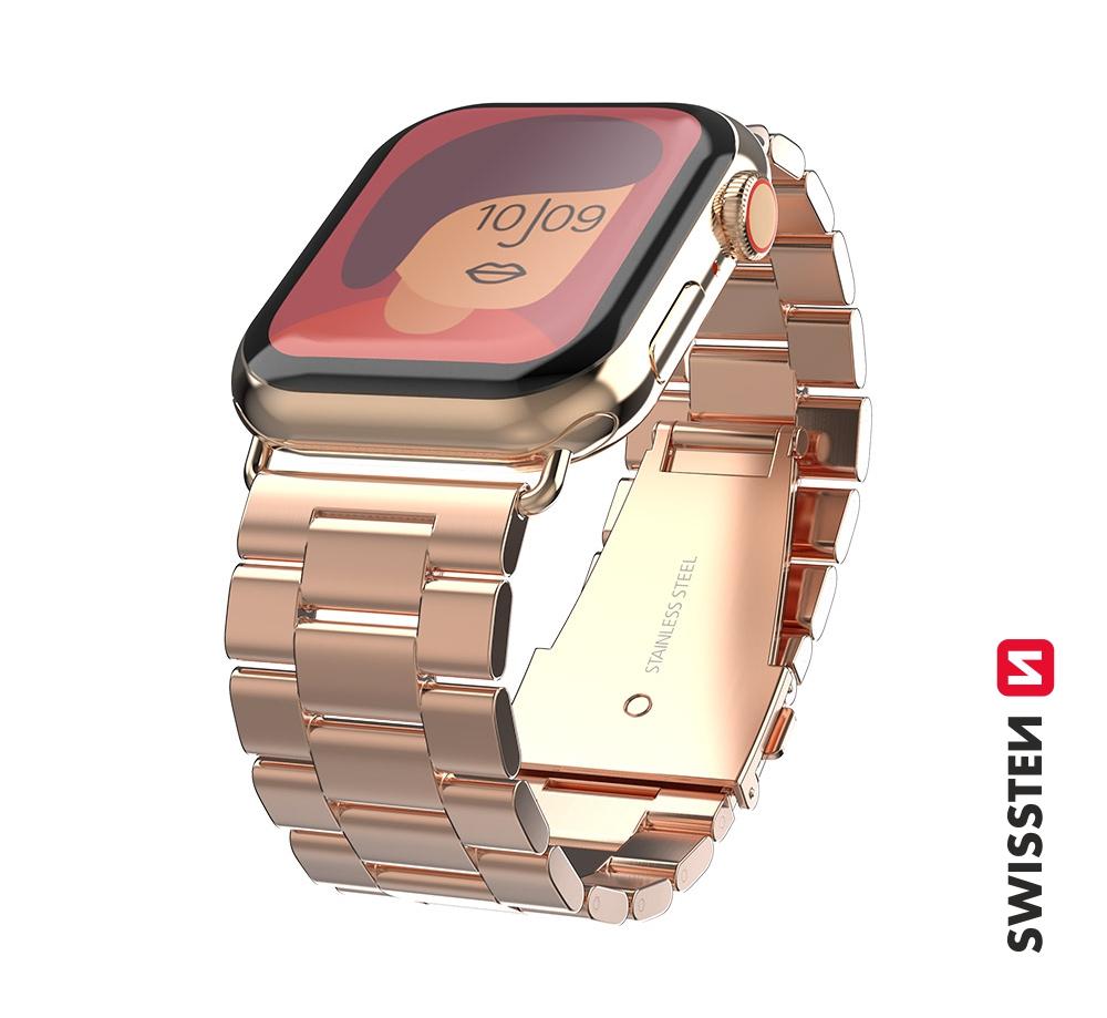 Kovový řemínek Swissten pro Apple Watch 42-44 mm, růžovo zlatá