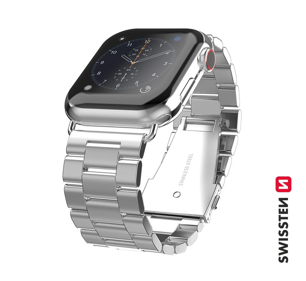 Kovový řemínek Swissten pro Apple Watch 42-44 mm, stříbrná