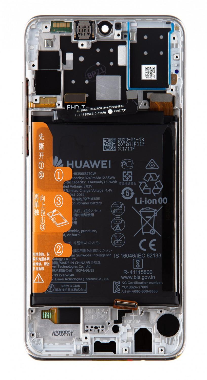 LCD + dotyk + přední kryt + baterie pro Huawei P30 Lite 2020 New Edition, white ( Service Pack )