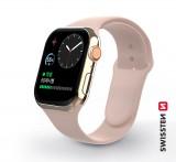 Silikonový řemínek Swissten pro Apple Watch 38-40 mm, pískově růžová