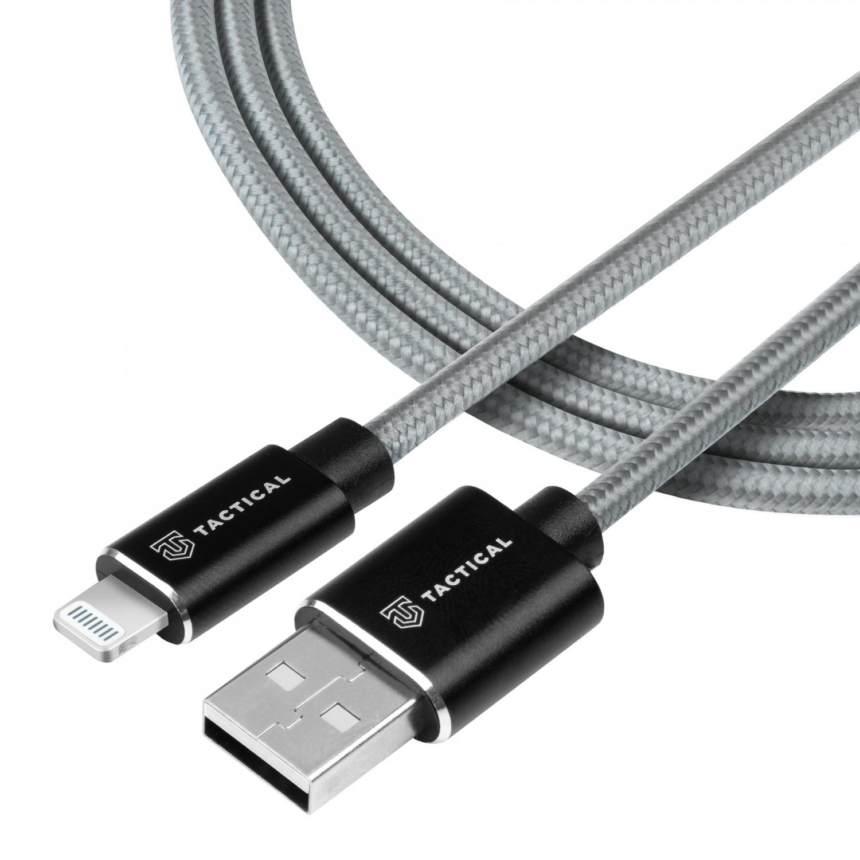 Kabel Tactical Fast Rope Aramid Cable USB-A/Lightning MFI, 0.3m, šedá