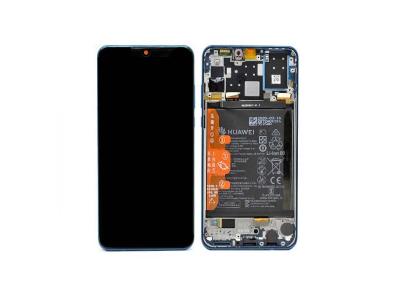LCD + dotyk + rámeček + baterie pro Huawei P30 Lite New Edition 2020, peacock blue ( Service Pack )
