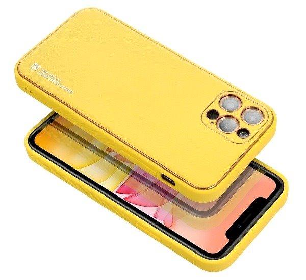 Ochranný kryt Forcell LEATHER pro Apple iPhone 13 Pro Max, žlutá