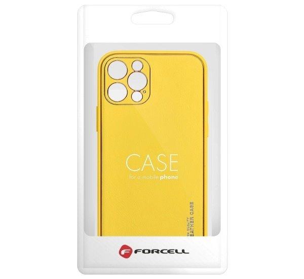 Ochranný kryt Forcell LEATHER pro Apple iPhone 13, žlutá