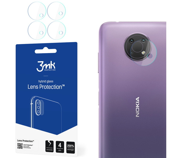 Hybridní sklo 3mk Lens ochrana kamery pro Nokia G10 (4ks)