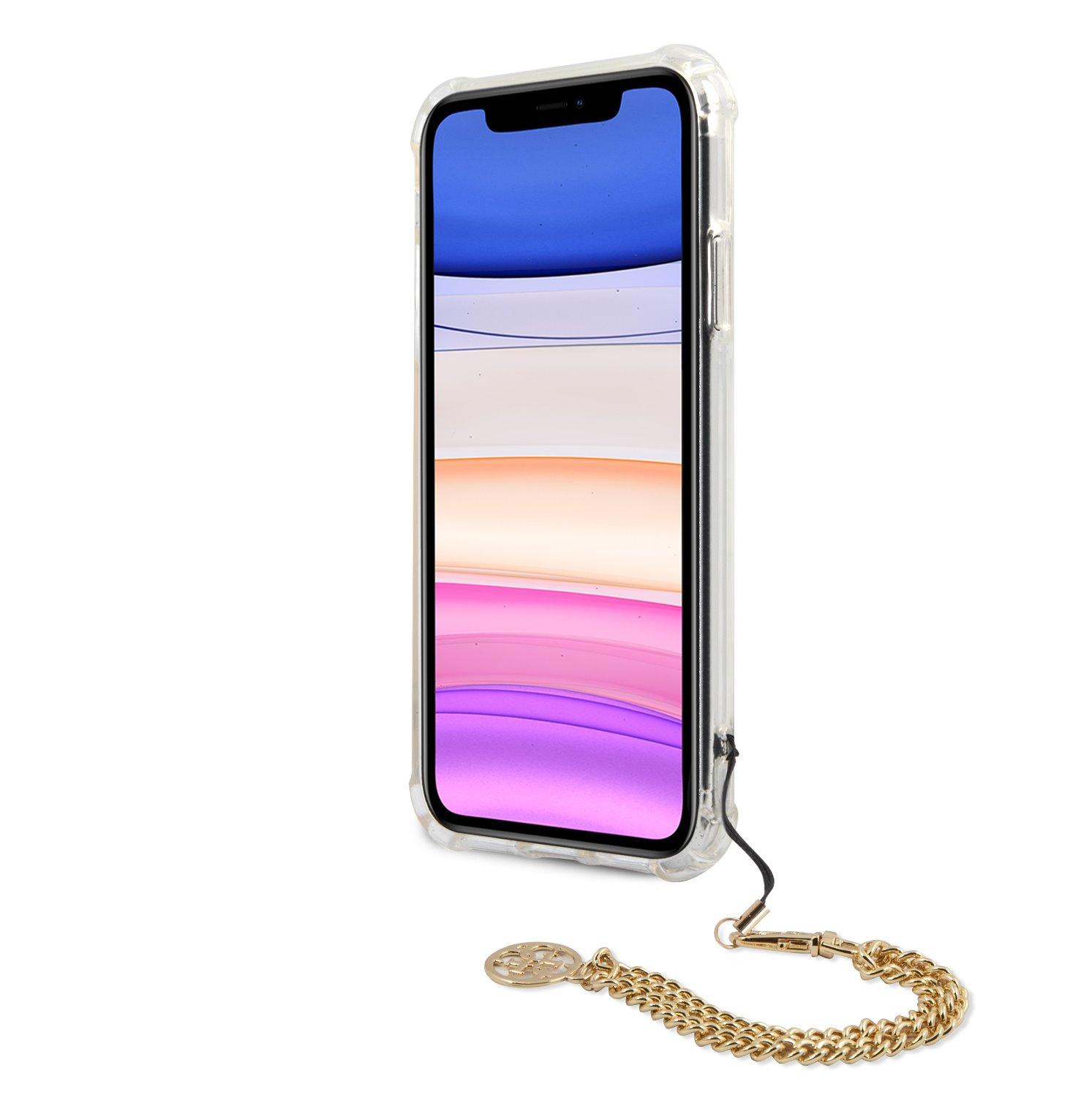 Zadní Kryt Guess GUHCN61KSPEGO PC Chain Peony pro Apple iPhone 11, zlatá