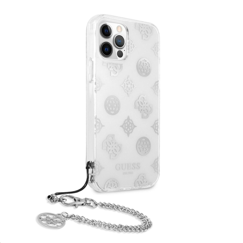 Zadní kryt Guess GUHCP12LKSPESI PC Chain Peony pro Apple iPhone 12 Pro Max, stříbná