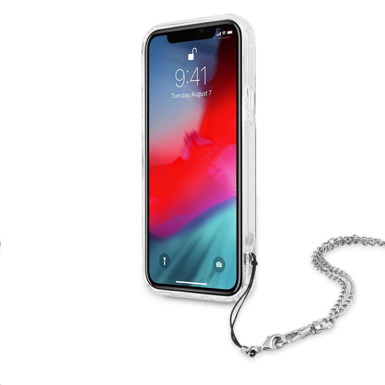Zadní kryt Guess GUHCP12MKSPESI Guess PC Chain Peony pro Apple iPhone 12/12 Pro, stříbrná