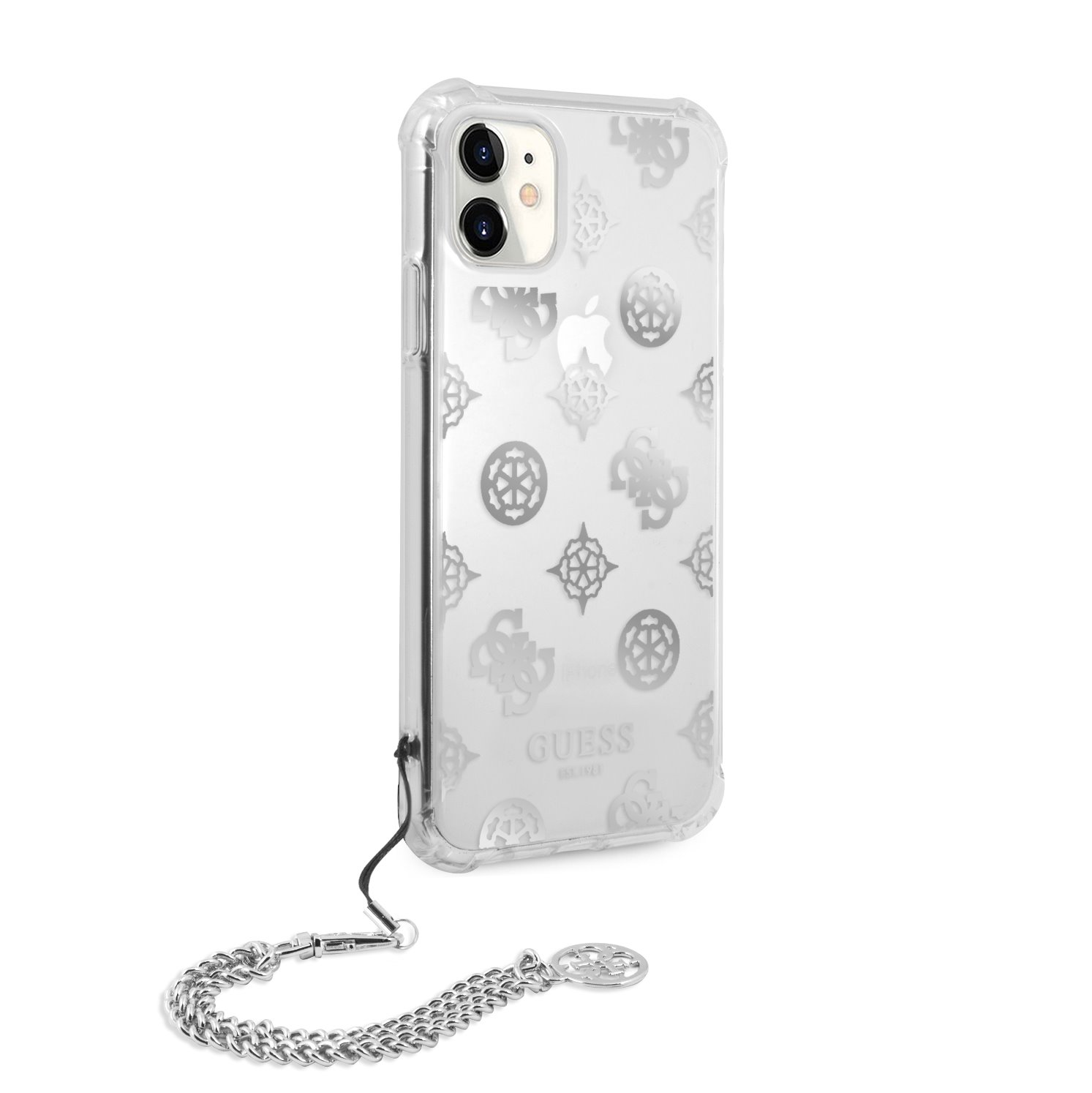 Zadní kryt GUHCN61KSPESI Guess PC Chain Peony pro iPhone 11, stříbrná
